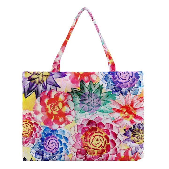 Colorful Succulents Medium Tote Bag