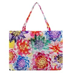 Colorful Succulents Medium Zipper Tote Bag
