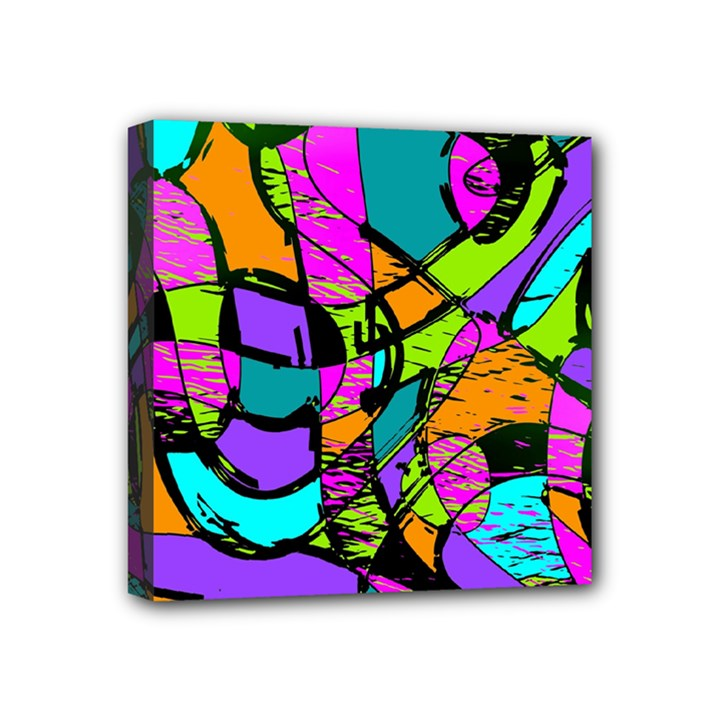 Abstract Sketch Art Squiggly Loops Multicolored Mini Canvas 4  x 4
