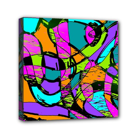 Abstract Sketch Art Squiggly Loops Multicolored Mini Canvas 6  X 6