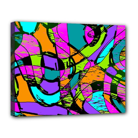 Abstract Sketch Art Squiggly Loops Multicolored Canvas 14  X 11