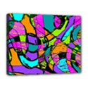 Abstract Sketch Art Squiggly Loops Multicolored Canvas 14  x 11  View1