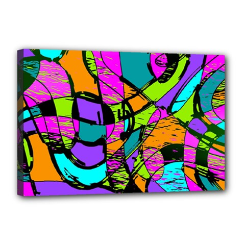 Abstract Sketch Art Squiggly Loops Multicolored Canvas 18  X 12