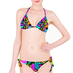 Abstract Sketch Art Squiggly Loops Multicolored Bikini Set