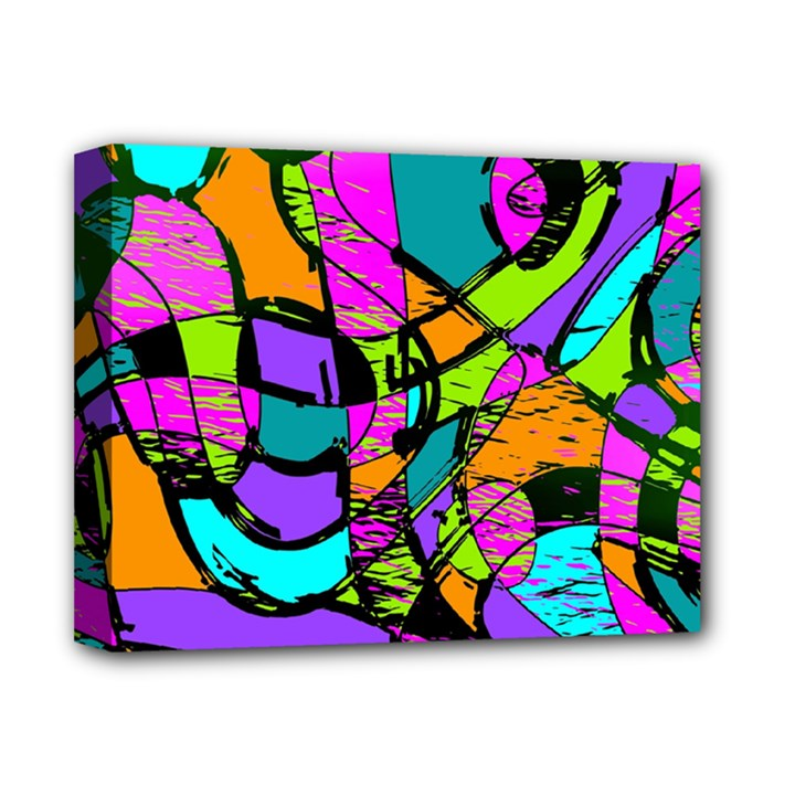 Abstract Sketch Art Squiggly Loops Multicolored Deluxe Canvas 14  x 11