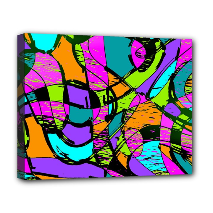 Abstract Sketch Art Squiggly Loops Multicolored Deluxe Canvas 20  x 16