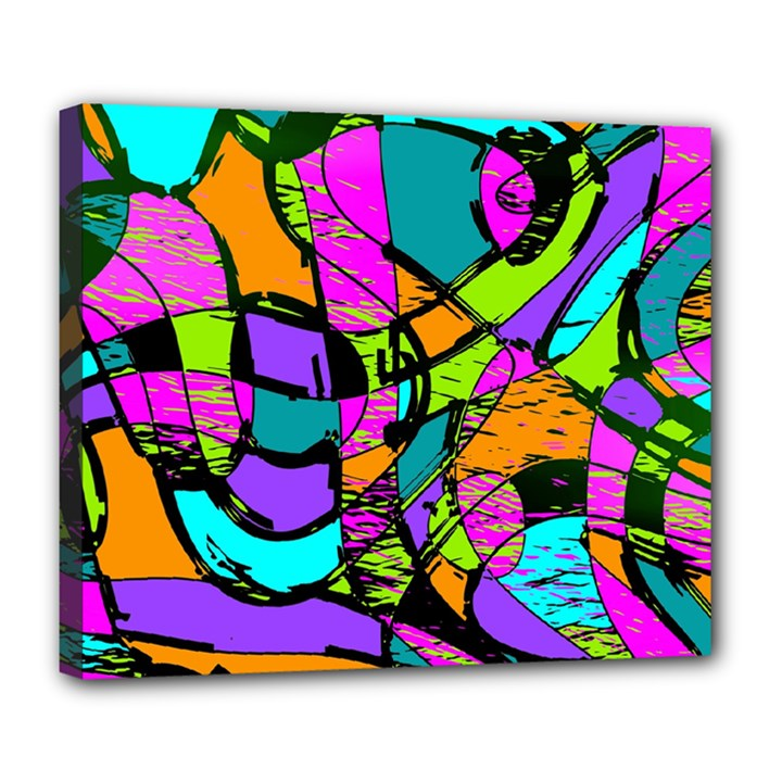 Abstract Sketch Art Squiggly Loops Multicolored Deluxe Canvas 24  x 20