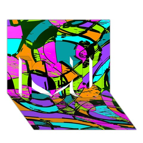Abstract Sketch Art Squiggly Loops Multicolored I Love You 3D Greeting Card (7x5)