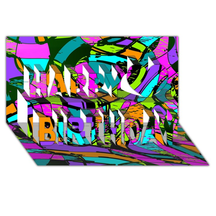 Abstract Sketch Art Squiggly Loops Multicolored Happy Birthday 3D Greeting Card (8x4)