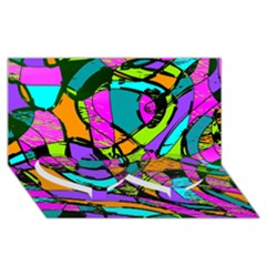 Abstract Sketch Art Squiggly Loops Multicolored Twin Heart Bottom 3d Greeting Card (8x4)