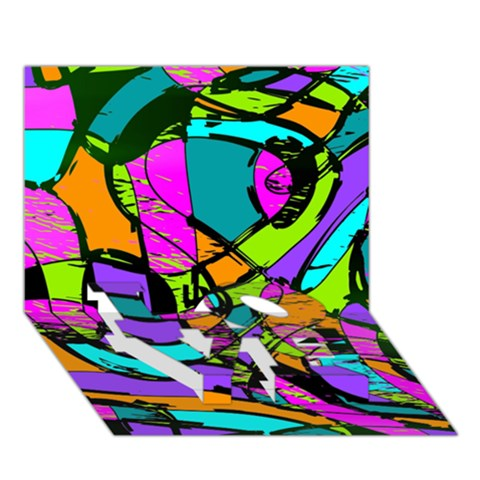 Abstract Sketch Art Squiggly Loops Multicolored LOVE Bottom 3D Greeting Card (7x5)
