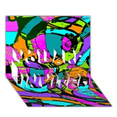 Abstract Sketch Art Squiggly Loops Multicolored You Are Invited 3d Greeting Card (7x5)