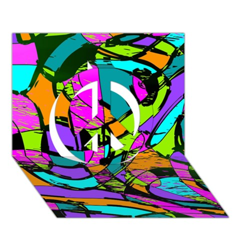 Abstract Sketch Art Squiggly Loops Multicolored Peace Sign 3D Greeting Card (7x5)