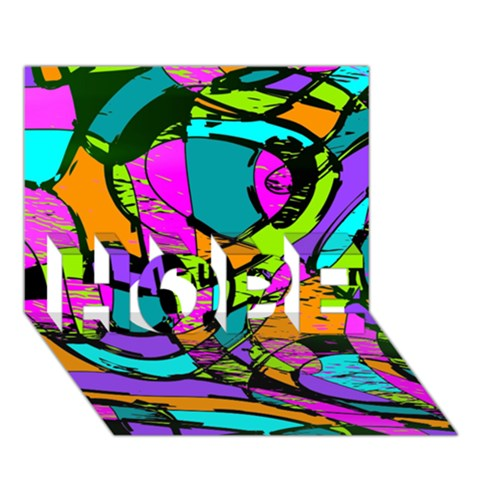 Abstract Sketch Art Squiggly Loops Multicolored HOPE 3D Greeting Card (7x5)