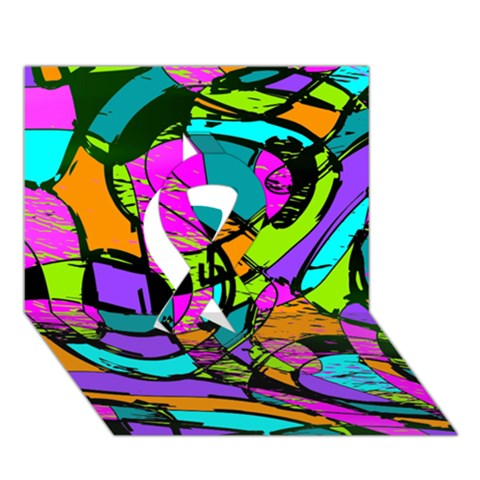 Abstract Sketch Art Squiggly Loops Multicolored Ribbon 3D Greeting Card (7x5)