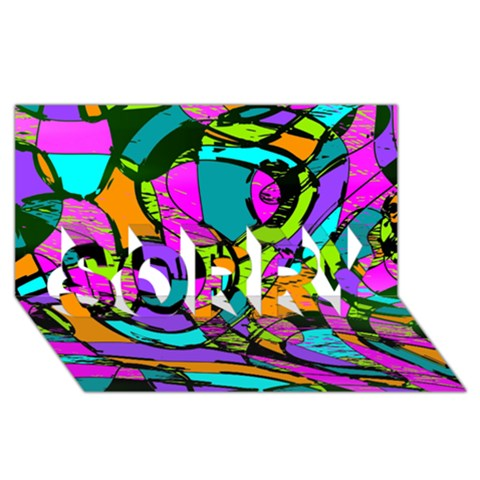 Abstract Sketch Art Squiggly Loops Multicolored SORRY 3D Greeting Card (8x4)
