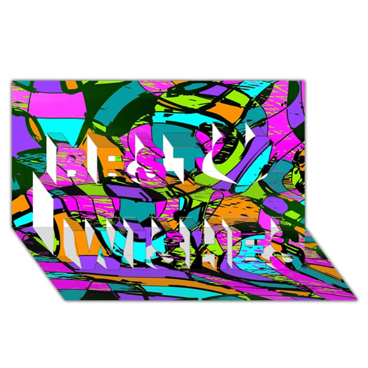 Abstract Sketch Art Squiggly Loops Multicolored Best Wish 3D Greeting Card (8x4)