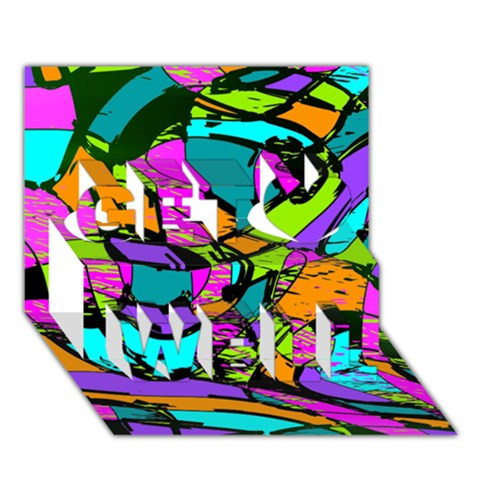 Abstract Sketch Art Squiggly Loops Multicolored Get Well 3D Greeting Card (7x5)
