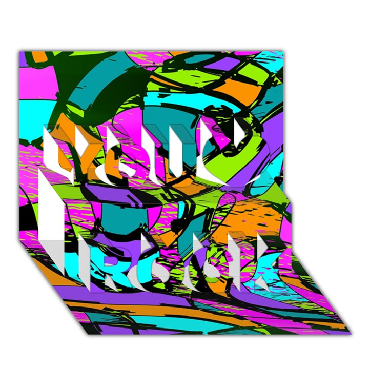 Abstract Sketch Art Squiggly Loops Multicolored You Rock 3D Greeting Card (7x5)