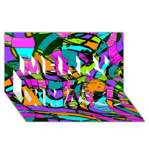 Abstract Sketch Art Squiggly Loops Multicolored Merry Xmas 3D Greeting Card (8x4)