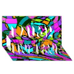 Abstract Sketch Art Squiggly Loops Multicolored Laugh Live Love 3D Greeting Card (8x4)