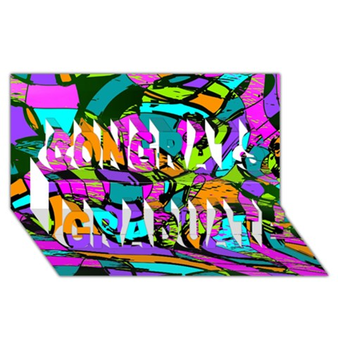 Abstract Sketch Art Squiggly Loops Multicolored Congrats Graduate 3D Greeting Card (8x4)