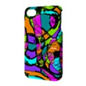 Abstract Sketch Art Squiggly Loops Multicolored Apple iPhone 4/4S Hardshell Case with Stand View3