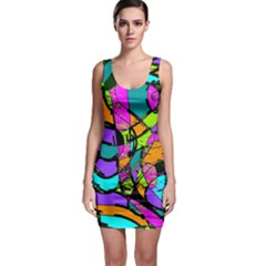 Abstract Sketch Art Squiggly Loops Multicolored Sleeveless Bodycon Dress