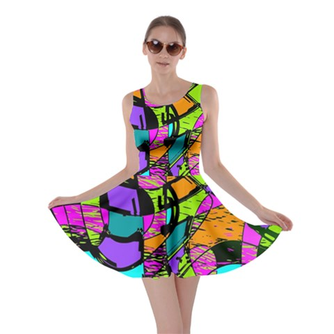 Abstract Sketch Art Squiggly Loops Multicolored Skater Dress