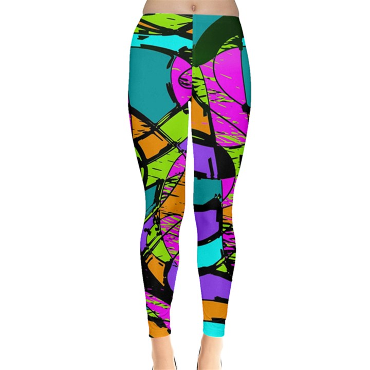 Abstract Sketch Art Squiggly Loops Multicolored Leggings