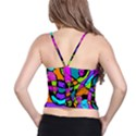 Abstract Sketch Art Squiggly Loops Multicolored Spaghetti Strap Bra Top View2