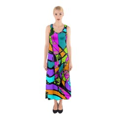 Abstract Sketch Art Squiggly Loops Multicolored Sleeveless Maxi Dress