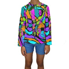 Abstract Sketch Art Squiggly Loops Multicolored Kids  Long Sleeve Swimwear