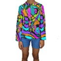 Abstract Sketch Art Squiggly Loops Multicolored Kids  Long Sleeve Swimwear View1