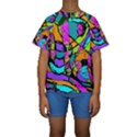 Abstract Sketch Art Squiggly Loops Multicolored Kids  Short Sleeve Swimwear View1