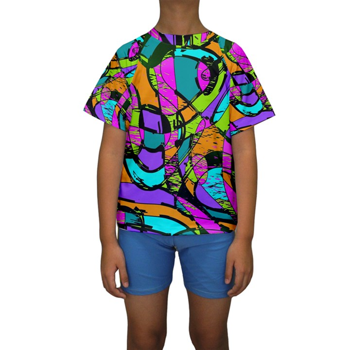 Abstract Sketch Art Squiggly Loops Multicolored Kids  Short Sleeve Swimwear