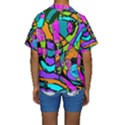 Abstract Sketch Art Squiggly Loops Multicolored Kids  Short Sleeve Swimwear View2