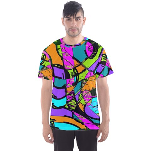 Abstract Sketch Art Squiggly Loops Multicolored Men s Sport Mesh Tee
