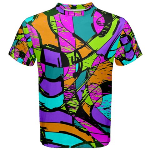 Abstract Sketch Art Squiggly Loops Multicolored Men s Cotton Tee