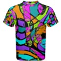 Abstract Sketch Art Squiggly Loops Multicolored Men s Cotton Tee View1