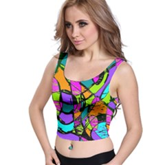 Abstract Sketch Art Squiggly Loops Multicolored Crop Top
