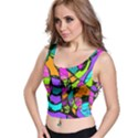 Abstract Sketch Art Squiggly Loops Multicolored Crop Top View1