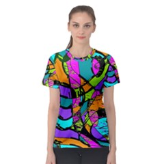 Abstract Sketch Art Squiggly Loops Multicolored Women s Sport Mesh Tee