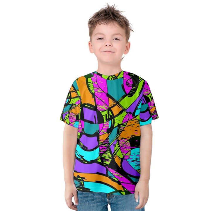 Abstract Sketch Art Squiggly Loops Multicolored Kids  Cotton Tee