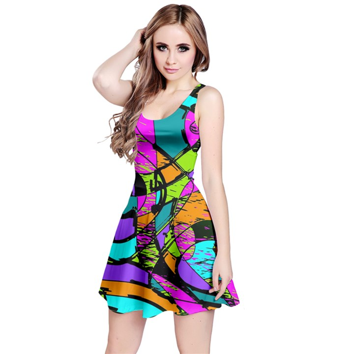 Abstract Sketch Art Squiggly Loops Multicolored Reversible Sleeveless Dress