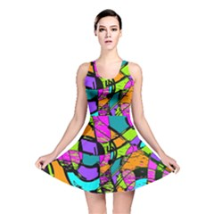 Abstract Sketch Art Squiggly Loops Multicolored Reversible Skater Dress