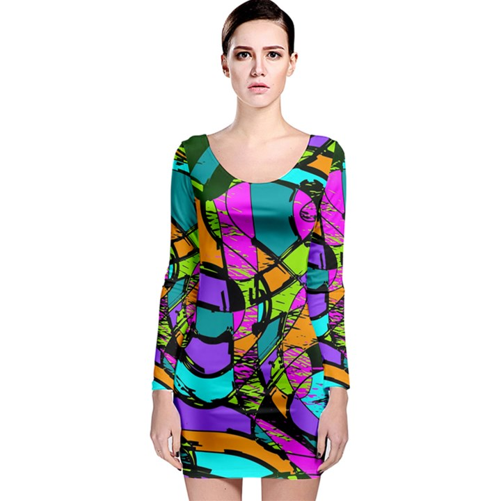 Abstract Sketch Art Squiggly Loops Multicolored Long Sleeve Bodycon Dress