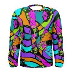 Abstract Sketch Art Squiggly Loops Multicolored Men s Long Sleeve Tee