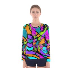 Abstract Sketch Art Squiggly Loops Multicolored Women s Long Sleeve Tee