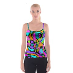 Abstract Sketch Art Squiggly Loops Multicolored Spaghetti Strap Top